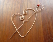 HEART SHAWL PIN copper wire wrapped