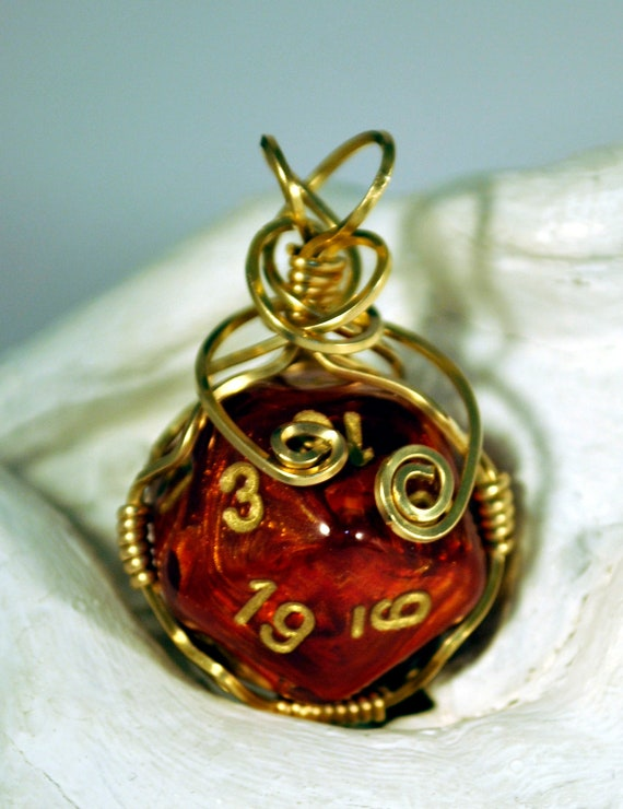 Dice Pendant Necklace - Wire Wrapped Red D20 - Geeky Gamer Jewelry