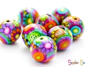 Disco Ball - 4 Handmade polymer clay rainbow beads - Round 18mm