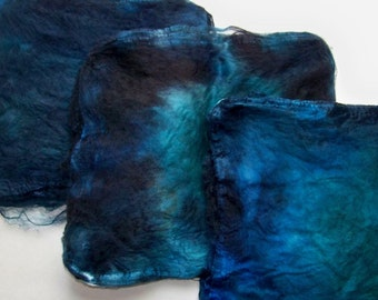 Hand Dyed Silk Fiber Mawata Silk Hankies for Spinning or Knitting -- Midnight (10grams)