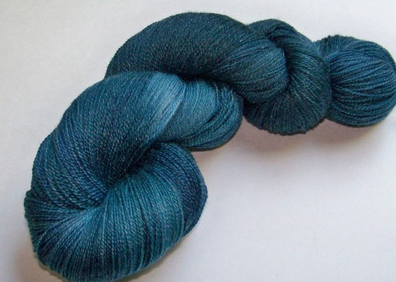 SPRING SALE 20 Percent Off -- Handpainted Superwash Merino and Bamboo Lace Weight -- Wedgewood and Slate (100g/875yds)