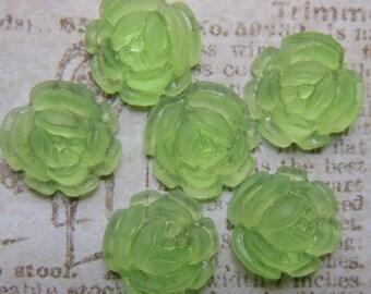 VIntage cabochons flower lime green translucent cabs flatback rose 14mm (6)