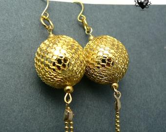 SALE 30% OFF - Gold Disco Ball Glitter Long Earrings