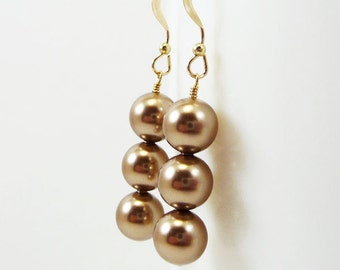 Bronze pearl earrings ARISTOCRAT Bridal Wedding Bridesmaid Swarovski Gold Filled