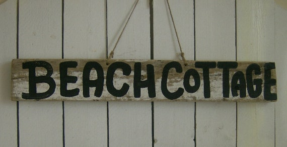 Distressed Shabby BEACH COTTAGE Indoor Outdoor  Wood Sign Home Decor, Rustic Sign, Rustic Shabby Decor, Beach Decor