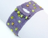 ON SALE - Amethyst Orchid Beadwoven Cuff Bracelet - Another Brick in the Wall Collection