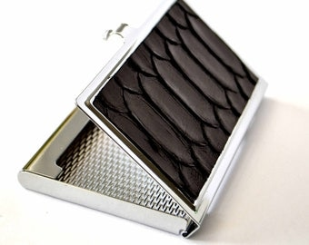 Black Snakeskin Business Card Case - by UNEARTHED