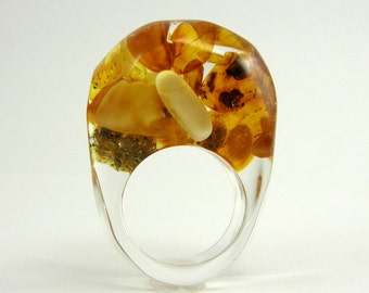 Clear Resin Ring with Amber, Amber Ring