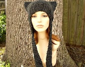 Charcoal Grey Cat Hat Knit Hat Womens Hat - Grey Ear Flap Cat Hat - Grey Hat Grey Beanie Grey Ear Flap Hat Womens Accessories Winter Hat
