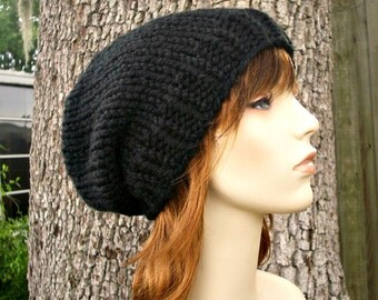 Chunky Black Beanie Mens Hat Womens Hat Slouchy Beanie Slouchy Hat - Black Toque Black Knit Hat Black Hat Womens Accessories