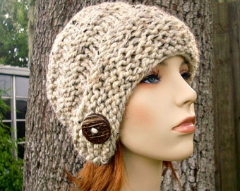 Knit Hat Womens Hat - Hybrid Swirl Cloche Hat in Oatmeal Tweed Knit Hat - Oatmeal Hat Womens Accessories Winter Hat