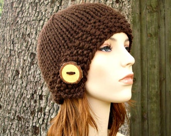 Knit Hat Womens Hat - Brown Cloche Hat in Chocolate Brown Knit Hat - Brown Hat Womens Accessories Winter Hat
