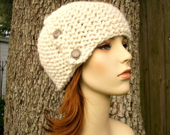 Cream Womens Hat - Chunky Cardigan Beanie Hat Cream Knit Hat - Cream Hat Cream Beanie Womens Accessories Fall Fashion - READY TO SHIP