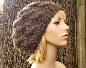 Knit Hat Womens Hat - Brown Cable Beret Hat Barley Brown Knit Hat - Brown Hat Brown Beanie Brown Beret Womens Accessories