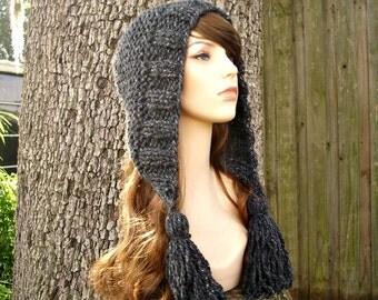 Knit Hat Womens Hat Grey Knit Hood Grey Ear Flap Hat - Tassel Hat in Constellation Charcoal Grey Knit Hat - Womens Accessories Winter Hat