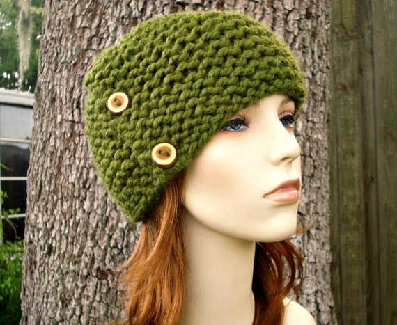 Knit Hat Womens Hat - Cardigan Beanie Hat in Olive Green Knit Hat - Green Hat Green Beanie Womens Accessories Winter Hat