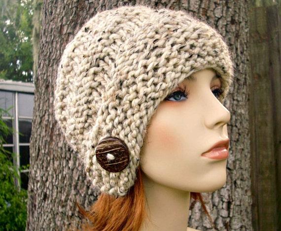 Knit Hat Womens Hat - Hybrid Swirl Cloche Hat in Oatmeal Tweed Knit Hat - Oatmeal Hat Womens Accessories Winter Hat