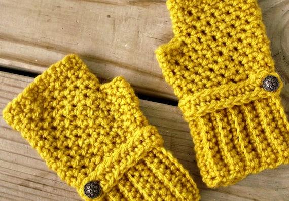 Hand Crocheted Fingerless Gloves Mittens - Fingerless Gloves in Marigold Mustard Yellow Fall Fashion