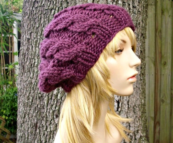 Knit Hat Purple Womens Hat - Cable Beret Hat in Fig Purple Knit Hat - Purple Hat Purple Beret Purple Beanie Womens Accessories