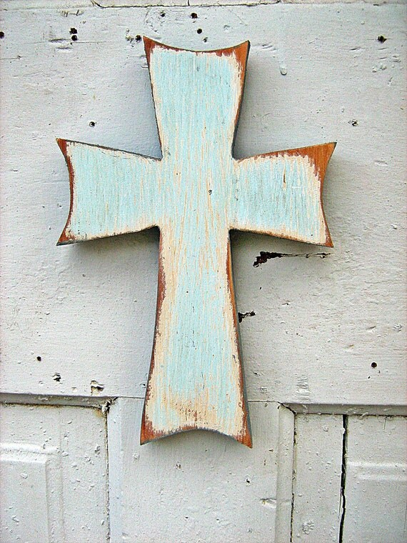 Baby Blue Wooden Wall Cross