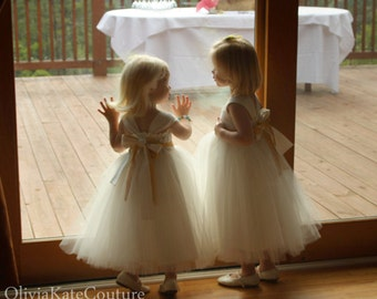 Lace Sash Flower Girl Dress Organic