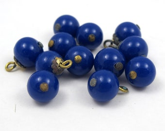 Vintage Japanese Navy Blue Beaded Glass Charm (12X) (B547)