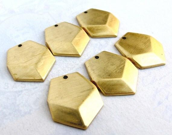Brass Geometric Military Chevron Drop Charms. (6X) (M724)