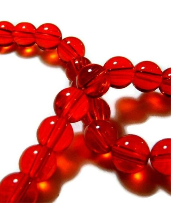 Red Transparent Round Glass Beads 12mm 35ct Pressed Glass