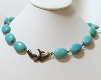 Phoenix in Flight Turquiose Blue Chain Necklace