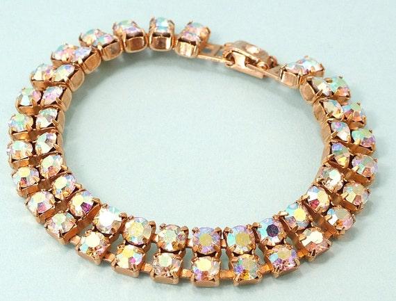 Vintage 1950s glam, gold plated,  aurora borealis/ rhinstone/ paste bracelet