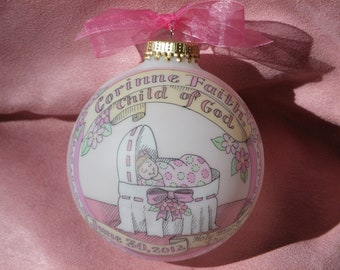 Baby Girl, Child of God,  Baptism,  Baby in the Bassinet  Personalized  Ornament, Handpainted and totally Original, WITH Display Stand