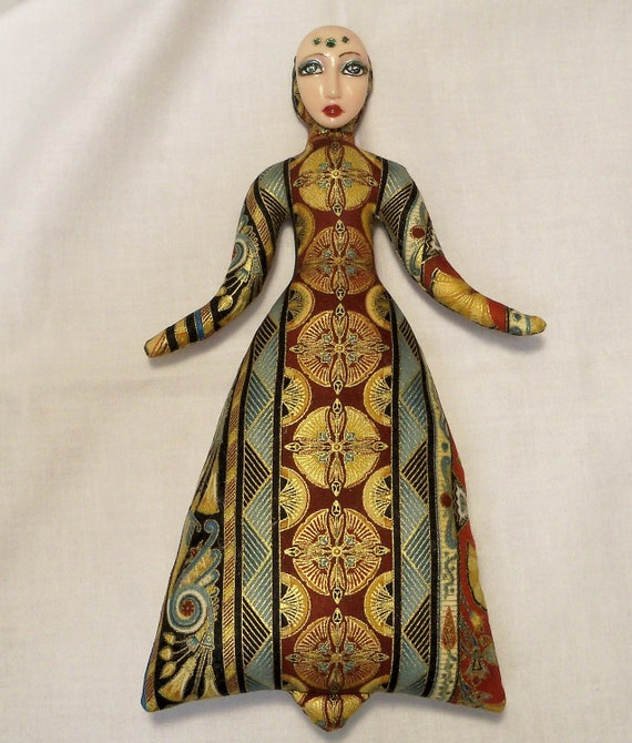 RESERVED for Bambi Ooak Egyptian Goddess cloth art doll form NO face cab