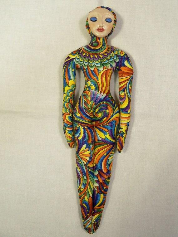 Goddess of Happiness cloth art doll form w/face cab  9 1/4in. tall      U finish it KIT