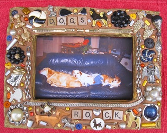 Dogs Rock Vintage Jewelry Mosaic Frame 4x6