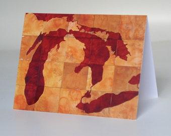 Great Lakes greeting card, print of original artwork