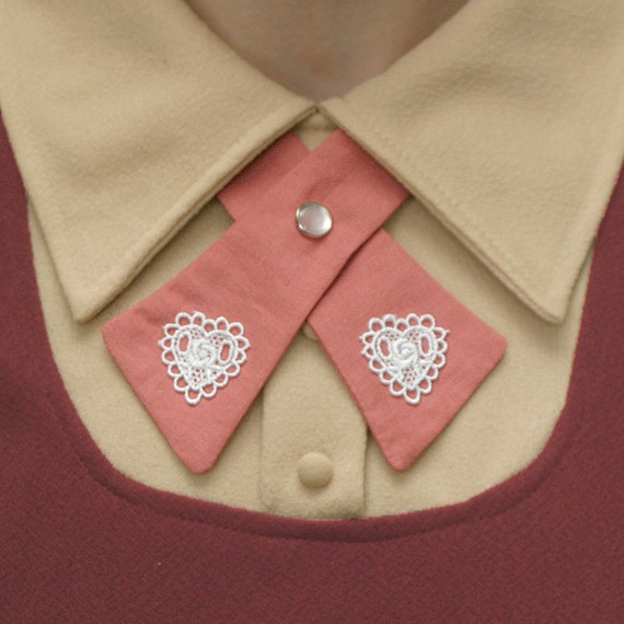 SALE Womens Neck Tie - Pink - Lace Hearts