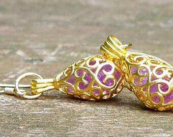 Recycled Vintage Amethyst Bottle Gold Earrings