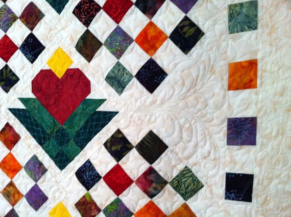 Batik Lap Quilt Heart Blossoms multicolor - RESERVED