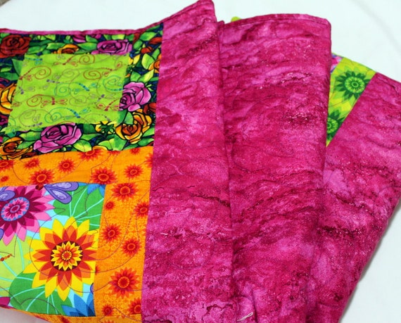 """Patchwork Lap Quilt in pink, lime, orange CALYPSO 60"""" x 76"""" ON SALE"""