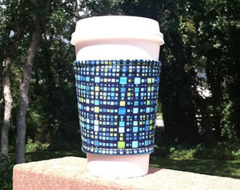 FREE SHIPPING UPGRADE with minimum -  Fabric coffee cozy / cup holder / coffee sleeve  - If the Jetsons had wallpaper