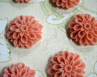 low profile 15mm mum cabochons, cute chrysanthemum flower cabochons (Coral pink)