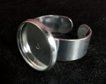 14mm bezel ring blanks, Silver Plated with an open adjustable back,  A93