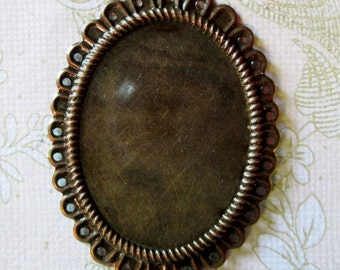 8 30x40mm copper filigree settings for large cameos, cabochons and resin