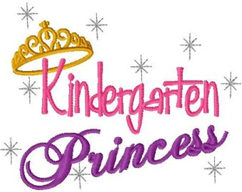Custom Embroiidery Back To School Kindergarten Princess T Shirt