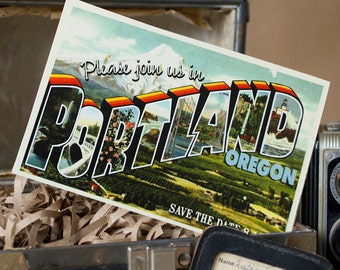 Vintage Large Letter Postcard Save the Date (Portland, Oregon) - Design Fee