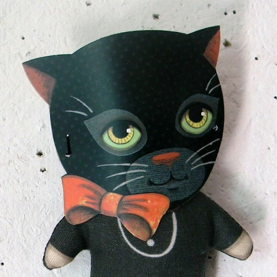 Black Cat Mask Halloween Kitten Doll -- Tiny Original Folk Art Printed and Stuffed Ornament