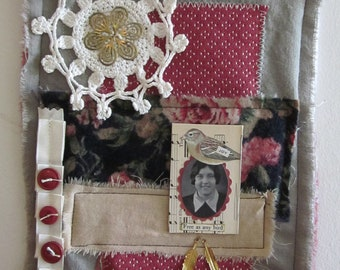 Clearance Sale...Fabric Collage Art Mixed Media...Free as any bird
