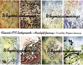 Flourish ATC Backgrounds DIgital Collage Sheet