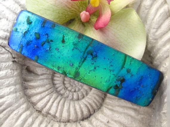 Hair Barrette - French Barrette -Shimmering Aqua Green -  Fused Dichroic Glass Barrette 071212b100