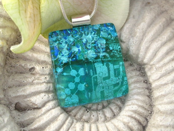 Emerald Aqua Necklace -  Contemporary Jewelry - Dichroic Glass Pendant - Dichroic Fused Glass Jewelry -Fused Glass Necklace 071412p100a